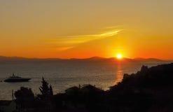 Paisaje mágico de la puesta del sol Foto de archivo
