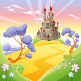 Paisaje mitológico con el castillo medieval. ilustración del vector