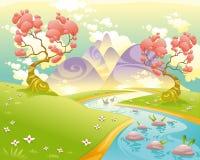 Paisaje mitológico con el río. stock de ilustración