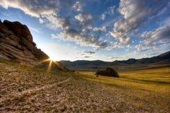 Paisaje mongol en la salida del sol Fotografía de archivo libre de regalías