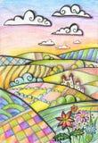 Paisaje montañoso colorido con el castillo y las flores ?rbol en campo Dibujo de la fantas?a por los l?pices coloreados stock de ilustración