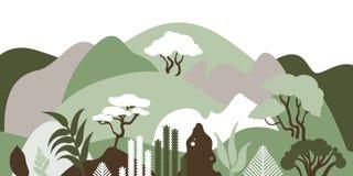 Paisaje montañoso de la montaña con las plantas tropicales y los árboles, palmas, succulents Paisaje asiático en colores en color stock de ilustración