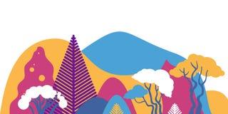 Paisaje montañoso de la montaña con las plantas tropicales y los árboles, palmas, succulents Estilo escandinavo ilustración del vector