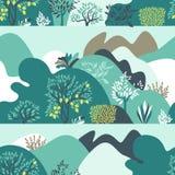 Paisaje montañoso del modelo inconsútil con los árboles, los arbustos y las plantas r ilustración del vector