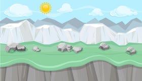 Paisaje montañoso editable inconsútil con los acantilados blancos para el diseño de juego libre illustration