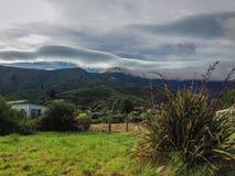 Paisaje montañoso típico en la isla del sur de Nueva Zelanda imagen de archivo