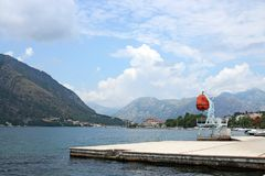 Paisaje Montenegro del puerto de la bahía de Kotor foto de archivo