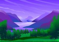 Paisaje natural con las montañas y el lago de la calma y de las aguas de restauración Imagen de archivo libre de regalías