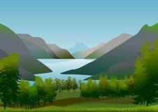 Paisaje natural con las montañas y el lago de la calma y de las aguas de restauración Imágenes de archivo libres de regalías