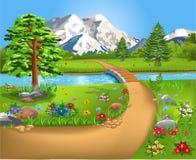 Paisaje natural con un río y un puente en el centro y las montañas en el fondo libre illustration