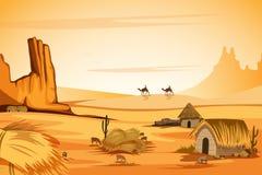 Paisaje natural de la duna de arena en desierto stock de ilustración