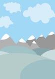 Paisaje natural de la historieta Cielo con las nubes Montañas y campos Fotos de archivo libres de regalías