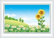 Paisaje natural del verano stock de ilustración