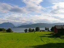 Paisaje Nesjestranda de Noruega Imagenes de archivo