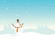 Paisaje Nevado con el muñeco de nieve Imágenes de archivo libres de regalías
