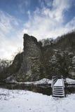 Paisaje nevado del invierno del río que atraviesa en bosque Foto de archivo libre de regalías