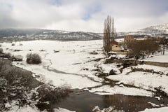 Paisaje Nevado en el parque nacional de Guadarrama, Segovia españa Imagenes de archivo