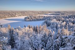 Paisaje Nevado en Finlandia Fotografía de archivo libre de regalías