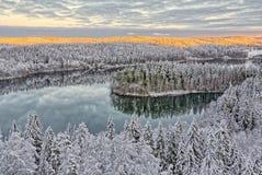 Paisaje Nevado en Finlandia Fotos de archivo