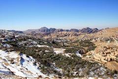 Paisaje Nevado en Petra, Jordania Imagen de archivo