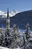 Paisaje Nevado en St. Moritz Imágenes de archivo libres de regalías