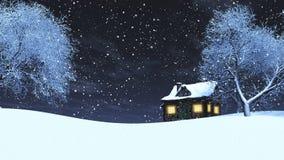 paisaje nevoso 3D en la noche libre illustration