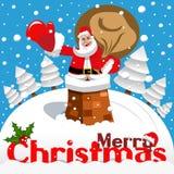 Paisaje nevoso de la chimenea de Santa Claus de la tarjeta de la Feliz Navidad ilustración del vector