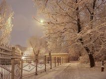 Paisaje nevoso de la ciudad del invierno de la noche foto de archivo