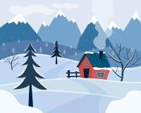Paisaje nevoso del invierno con las montañas y la casa de campo Estación de la Navidad fotos de archivo