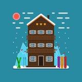 Paisaje nevoso del invierno - estación de esquí stock de ilustración