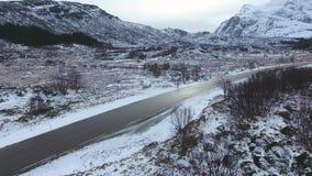 Paisaje noruego del invierno en Lofoten almacen de video