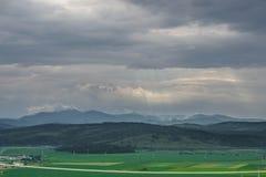 Paisaje nublado y de niebla de la montaña del verano Imagenes de archivo