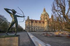 Paisaje nuevo ayuntamiento en Hannover, Alemania Foto de archivo