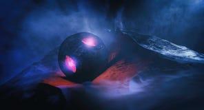 Paisaje oscuro misterioso de la montaña con el objeto desconocido libre illustration