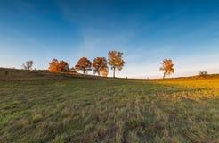 Paisaje otoñal con el campo en la puesta del sol Imagenes de archivo
