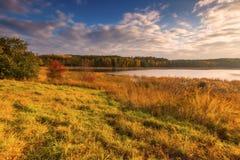 Paisaje otoñal con el lago y las plantas con colores otoñales Foto de archivo