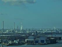 Paisaje 3 P.M. de la industria del puerto de Rotterdam Fotos de archivo