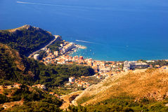 Paisaje panorámico de Budva, Montenegro. imagen de archivo libre de regalías