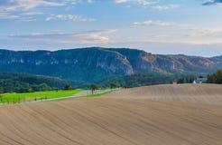 Paisaje panorámico de colinas de color verde amarillo coloridas con el camino de tierra, el cielo azul y las nubes Foto de archivo