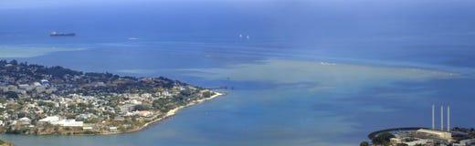 Paisaje panorámico de la costa Fotografía de archivo