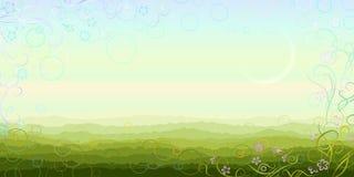 Paisaje panorámico de la mañana del verano Imagenes de archivo