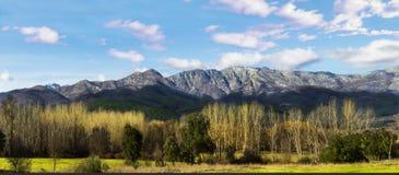 Paisaje panorámico de montañas con los árboles y el cielo azul fotos de archivo