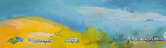 Paisaje pintado digital abstracto de la fantasía ilustración del vector