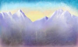 Paisaje pintado a mano de la montaña con puesta del sol o salida del sol en el cielo azul con el fondo apenado envejecido de la t stock de ilustración