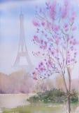 Paisaje pintado a mano hermoso de París de la acuarela Foto de archivo libre de regalías