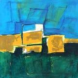 Paisaje pintado/país abstracto, cielo + prado Imágenes de archivo libres de regalías