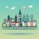 Paisaje plano de la ciudad de Londres del diseño Horizonte coloreado moderno de la ciudad de Londres Fotos de archivo