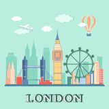 Paisaje plano de la ciudad de Londres del diseño Ilustración del vector Imagenes de archivo