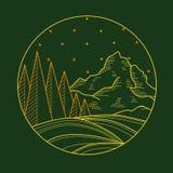 Paisaje plano de la montaña del trazador de líneas Foto de archivo libre de regalías