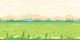 Paisaje plano del fondo del juego de campo de hierba ilustración del vector